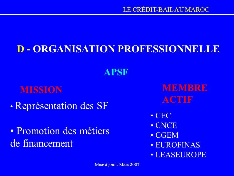 D - ORGANISATION PROFESSIONNELLE