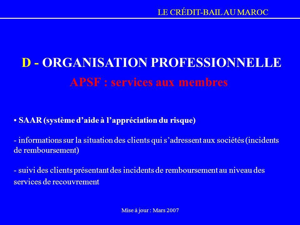 APSF : services aux membres