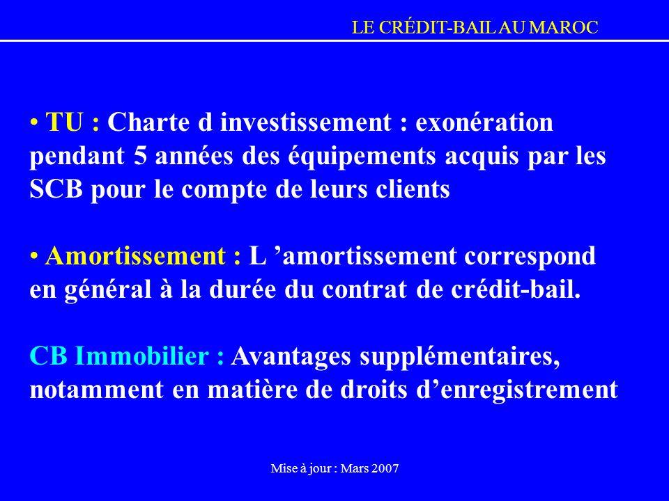 TU : Charte d investissement : exonération pendant 5 années des équipements acquis par les SCB pour le compte de leurs clients