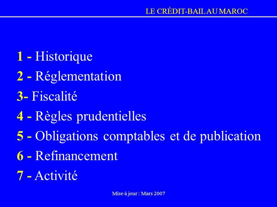 4 - Règles prudentielles 5 - Obligations comptables et de publication