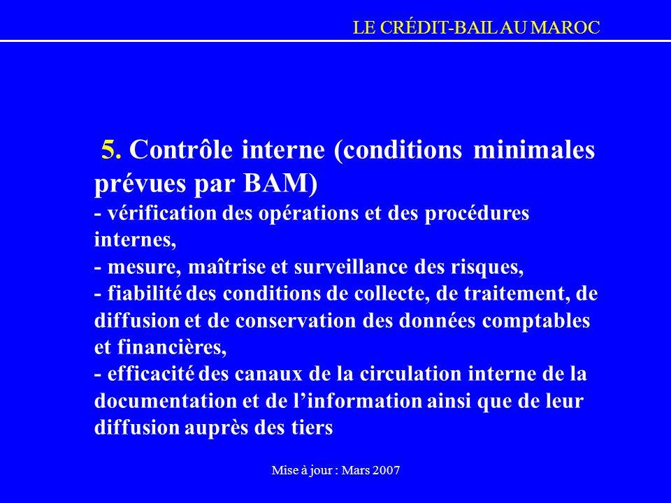 5. Contrôle interne (conditions minimales prévues par BAM)
