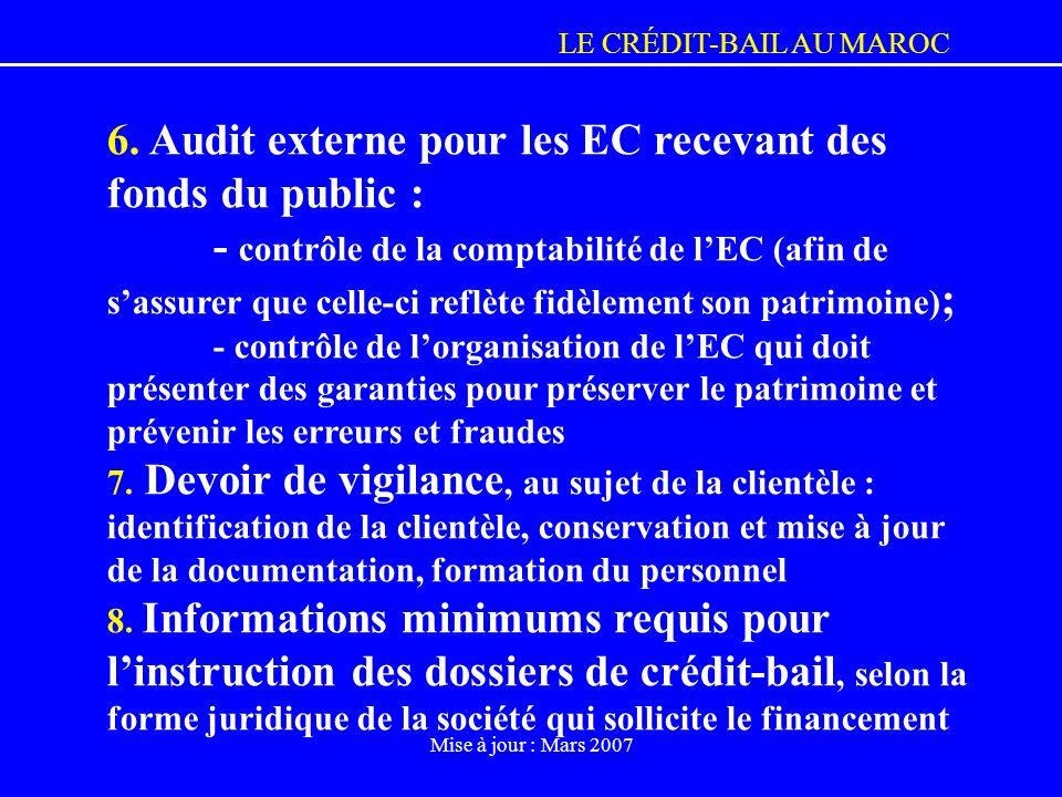 6. Audit externe pour les EC recevant des fonds du public :