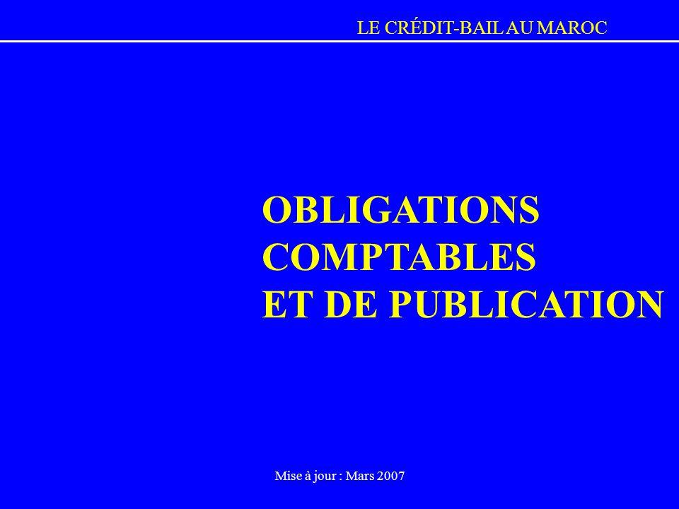 OBLIGATIONS COMPTABLES ET DE PUBLICATION