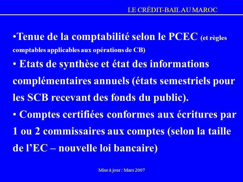 Tenue de la comptabilité selon le PCEC (et règles comptables applicables aux opérations de CB)