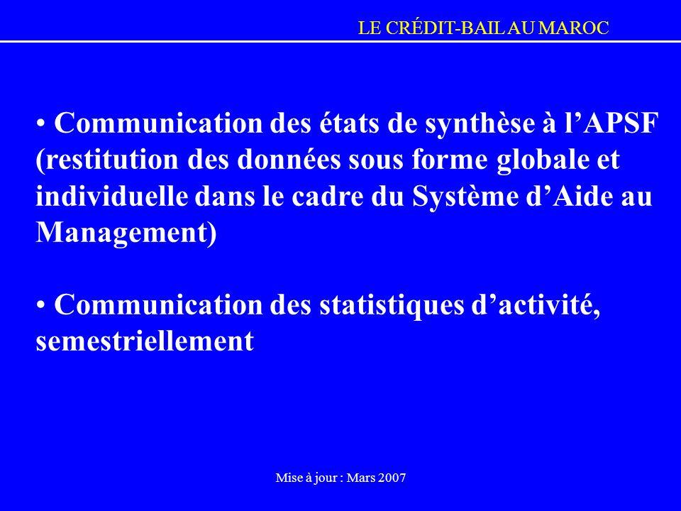 Communication des statistiques d'activité, semestriellement