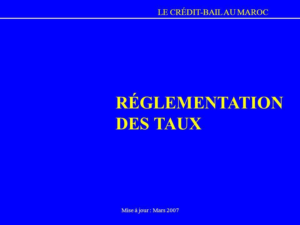 RÉGLEMENTATION DES TAUX