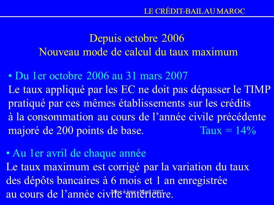 Depuis octobre 2006 Nouveau mode de calcul du taux maximum