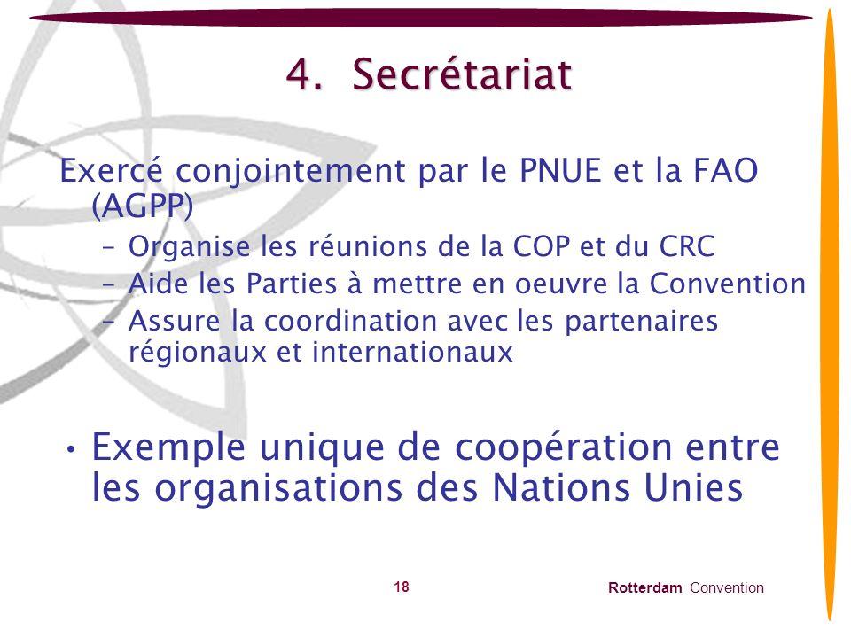 4. Secrétariat Exercé conjointement par le PNUE et la FAO (AGPP) Organise les réunions de la COP et du CRC.