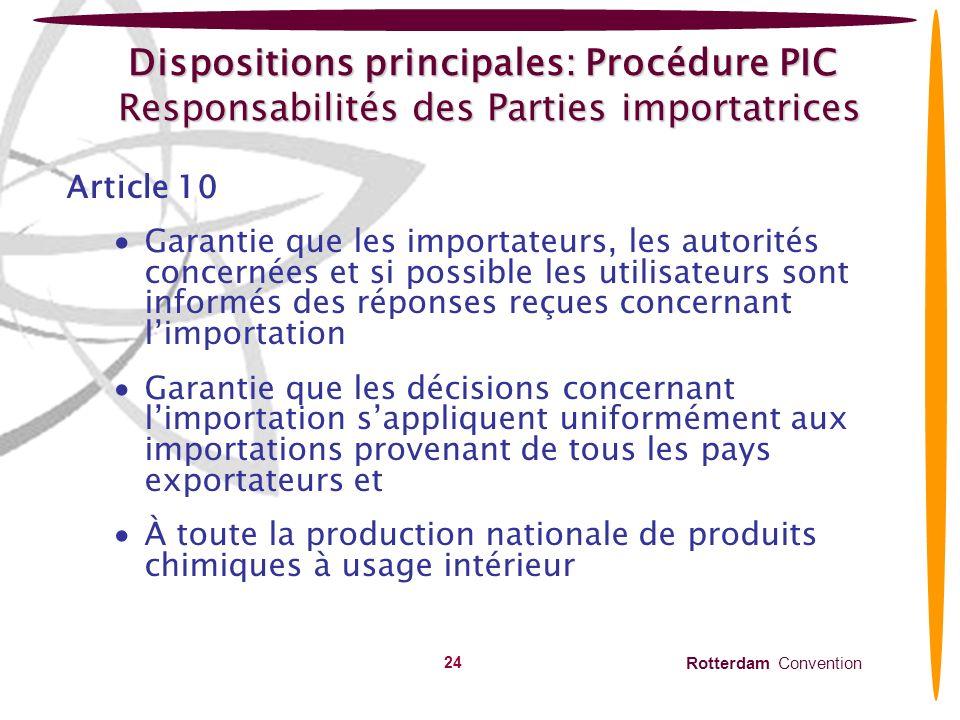 Dispositions principales: Procédure PIC Responsabilités des Parties importatrices