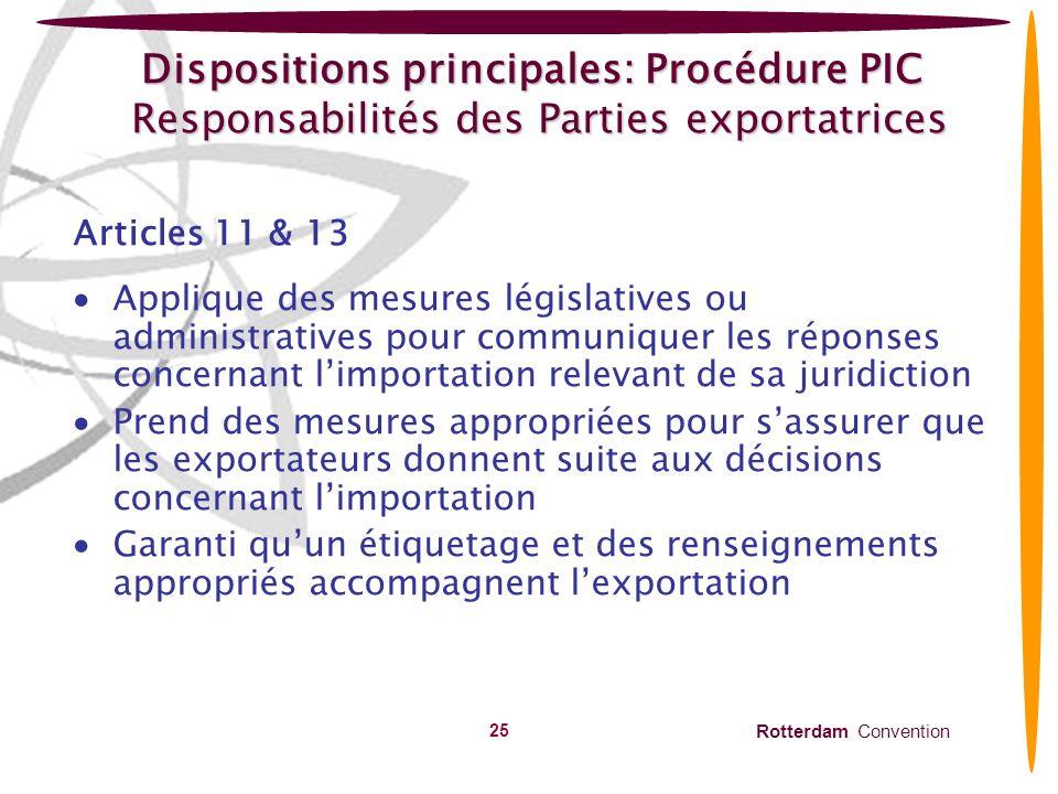 Dispositions principales: Procédure PIC Responsabilités des Parties exportatrices