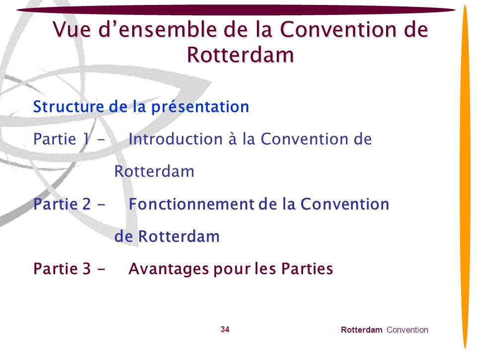 Vue d'ensemble de la Convention de Rotterdam