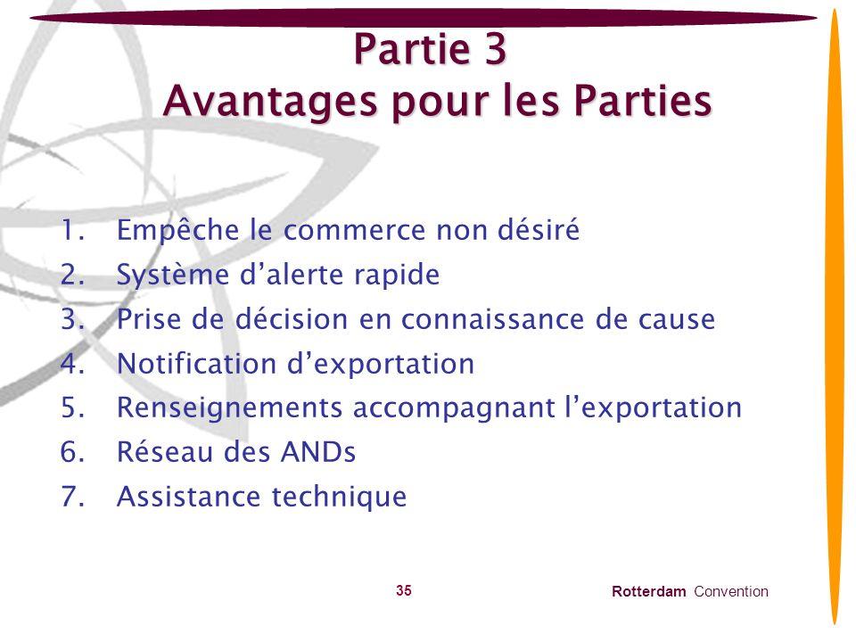 Partie 3 Avantages pour les Parties