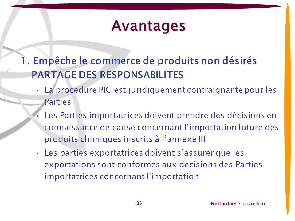 Avantages 1. Empêche le commerce de produits non désirés PARTAGE DES RESPONSABILITES.
