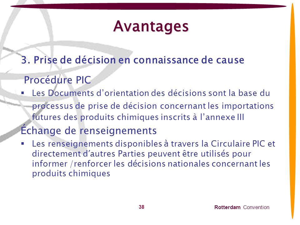 Avantages 3. Prise de décision en connaissance de cause Procédure PIC