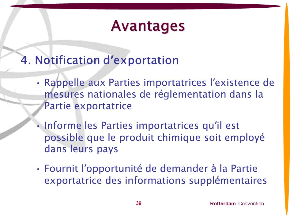 Avantages 4. Notification d'exportation