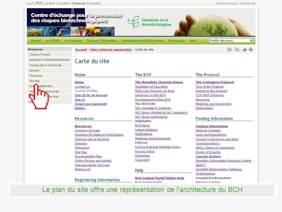 Le plan du site offre une représentation de l architecture du BCH