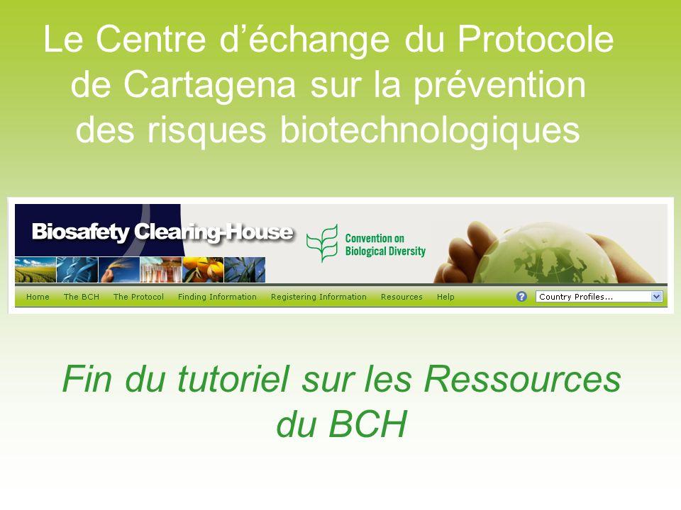 Fin du tutoriel sur les Ressources du BCH