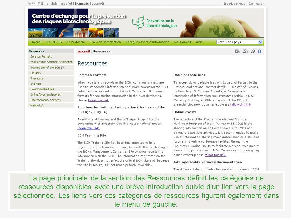 La page principale de la section des Ressources définit les catégories de ressources disponibles avec une brève introduction suivie d un lien vers la page sélectionnée.