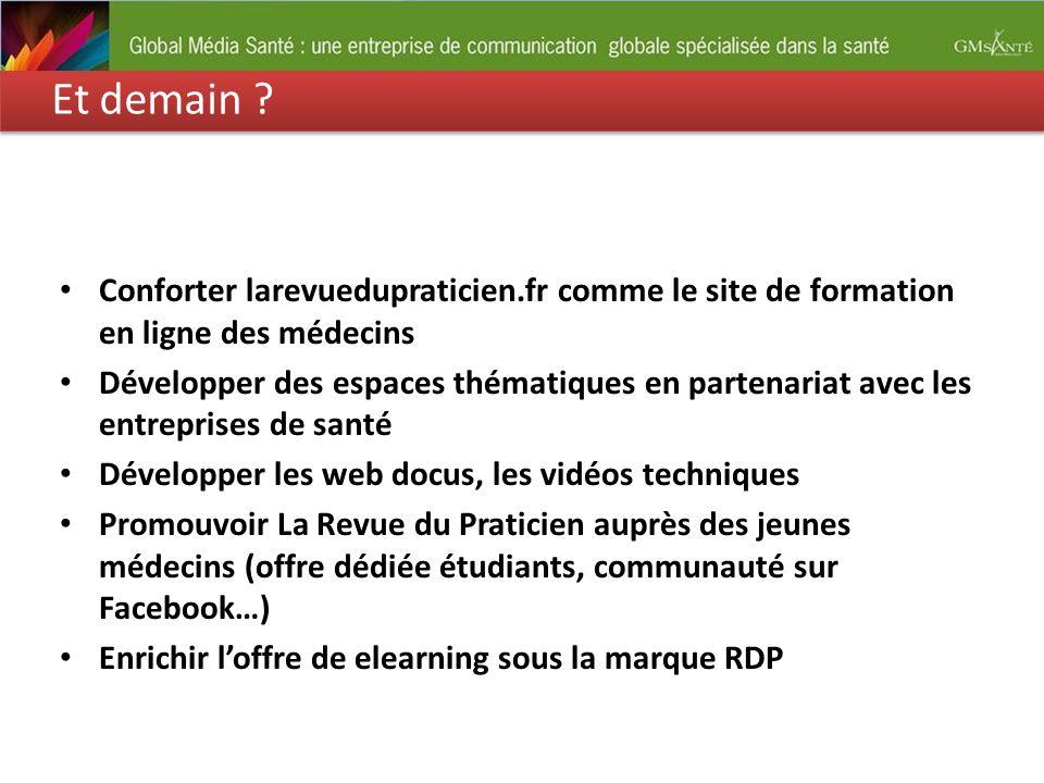 Et demain Conforter larevuedupraticien.fr comme le site de formation en ligne des médecins.