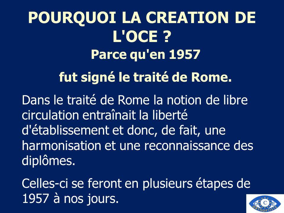 POURQUOI LA CREATION DE L OCE fut signé le traité de Rome.