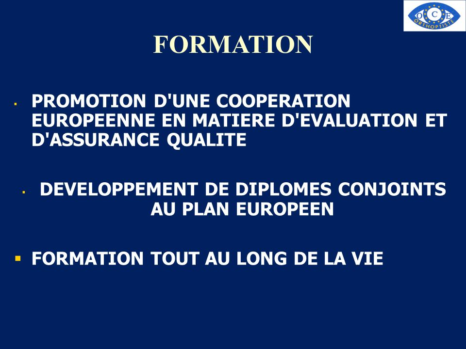 DEVELOPPEMENT DE DIPLOMES CONJOINTS AU PLAN EUROPEEN