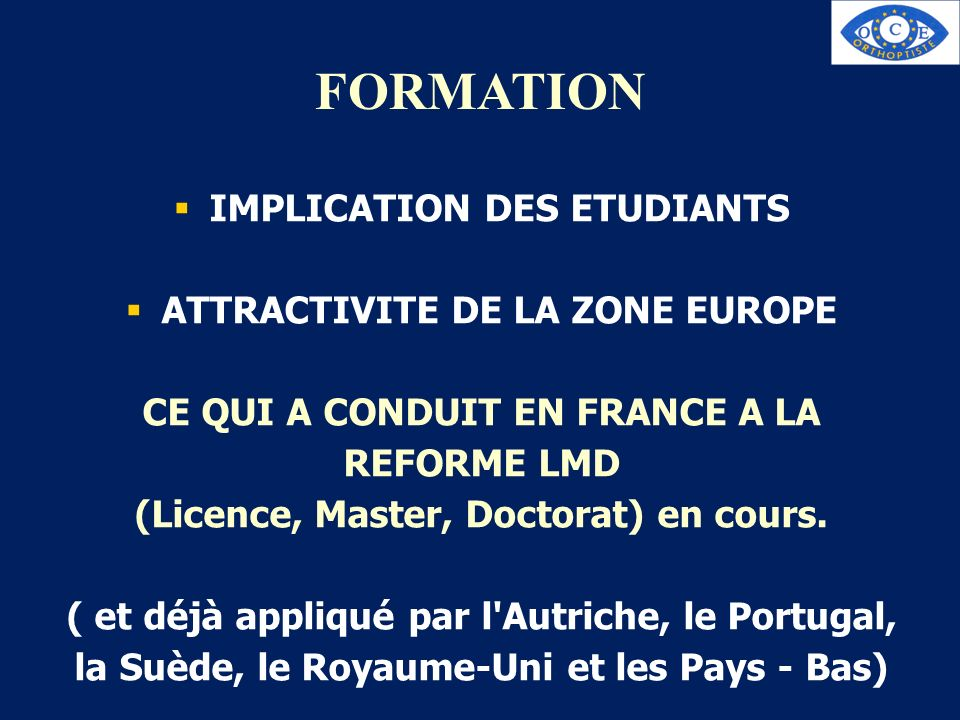 FORMATION IMPLICATION DES ETUDIANTS ATTRACTIVITE DE LA ZONE EUROPE