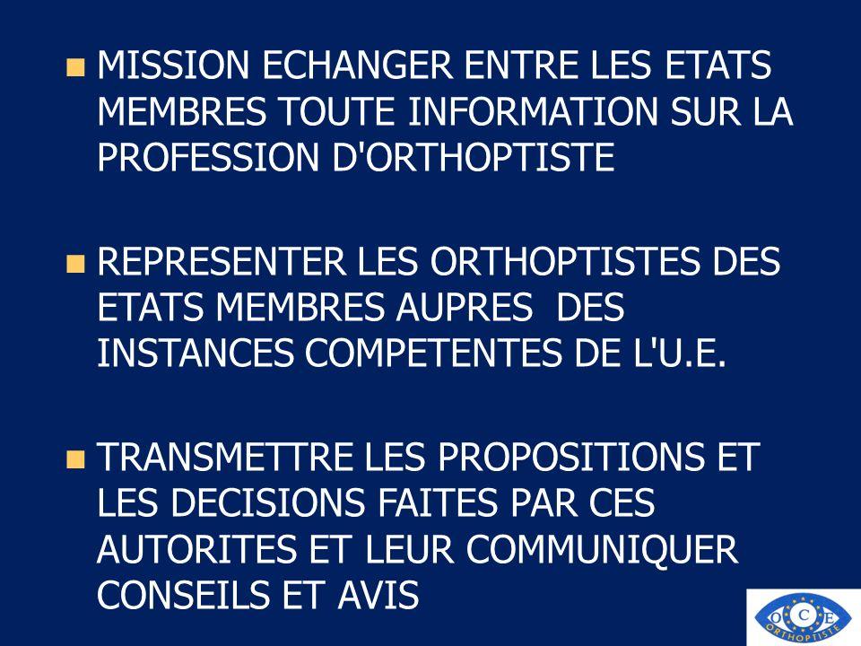 MISSION ECHANGER ENTRE LES ETATS MEMBRES TOUTE INFORMATION SUR LA PROFESSION D ORTHOPTISTE
