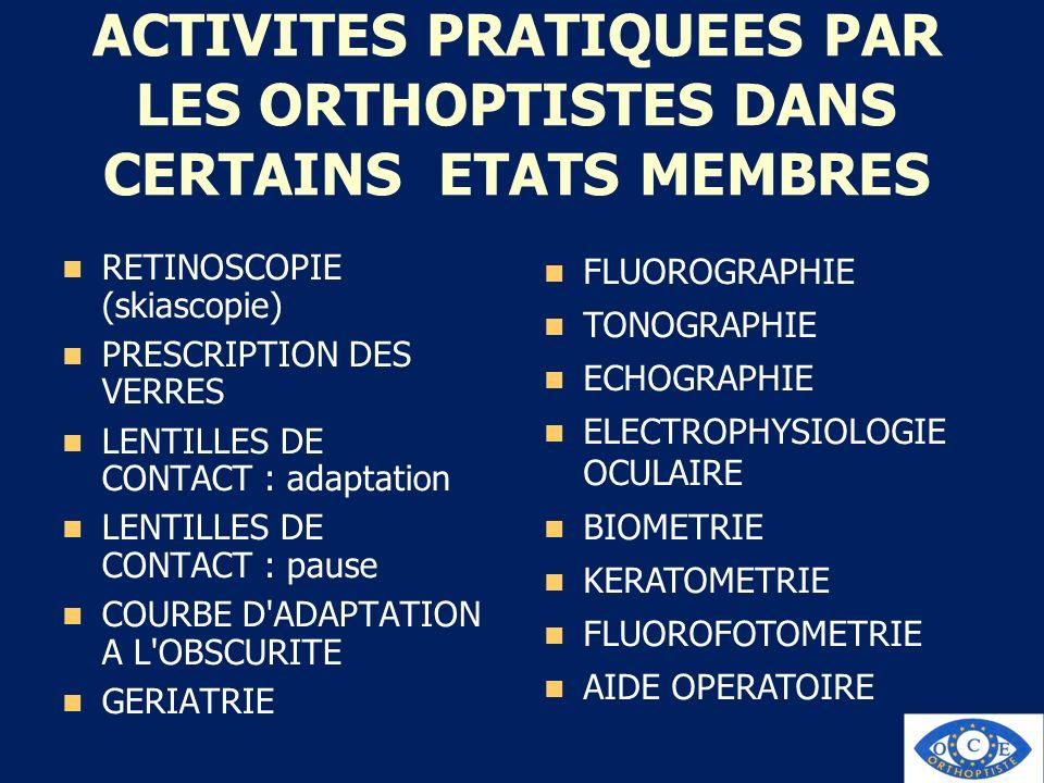 ACTIVITES PRATIQUEES PAR LES ORTHOPTISTES DANS CERTAINS ETATS MEMBRES