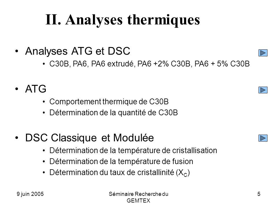 II. Analyses thermiques
