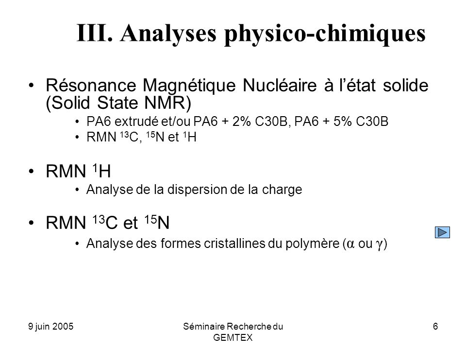 III. Analyses physico-chimiques