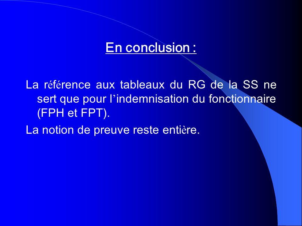 En conclusion :La référence aux tableaux du RG de la SS ne sert que pour l'indemnisation du fonctionnaire (FPH et FPT).