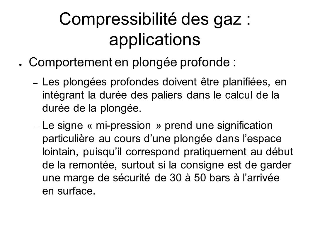 Compressibilité des gaz : applications