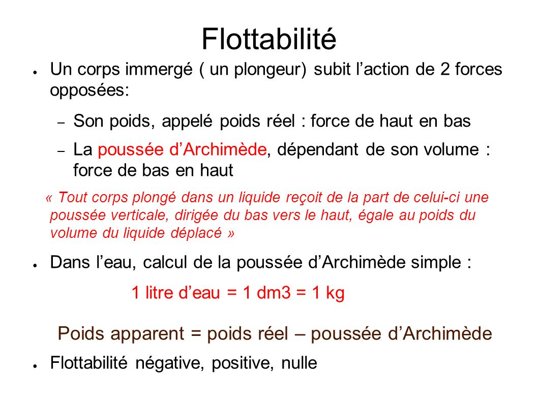 Physique pression flottabilit principe d 39 archim de for Calculer son volume de demenagement