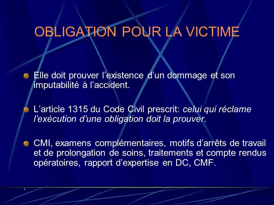 OBLIGATION POUR LA VICTIME
