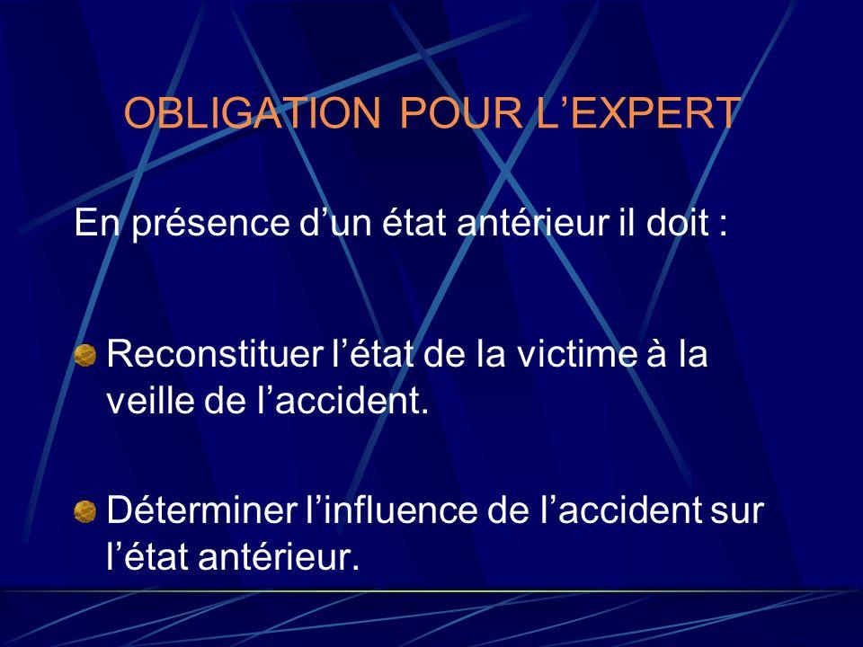 OBLIGATION POUR L'EXPERT