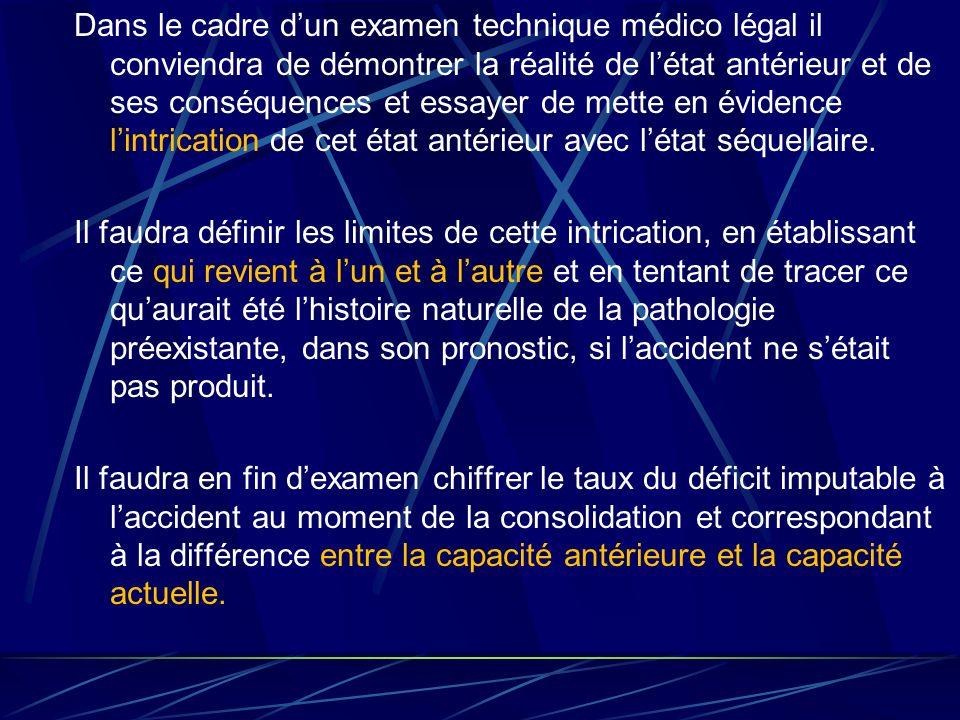 Dans le cadre d'un examen technique médico légal il conviendra de démontrer la réalité de l'état antérieur et de ses conséquences et essayer de mette en évidence l'intrication de cet état antérieur avec l'état séquellaire.