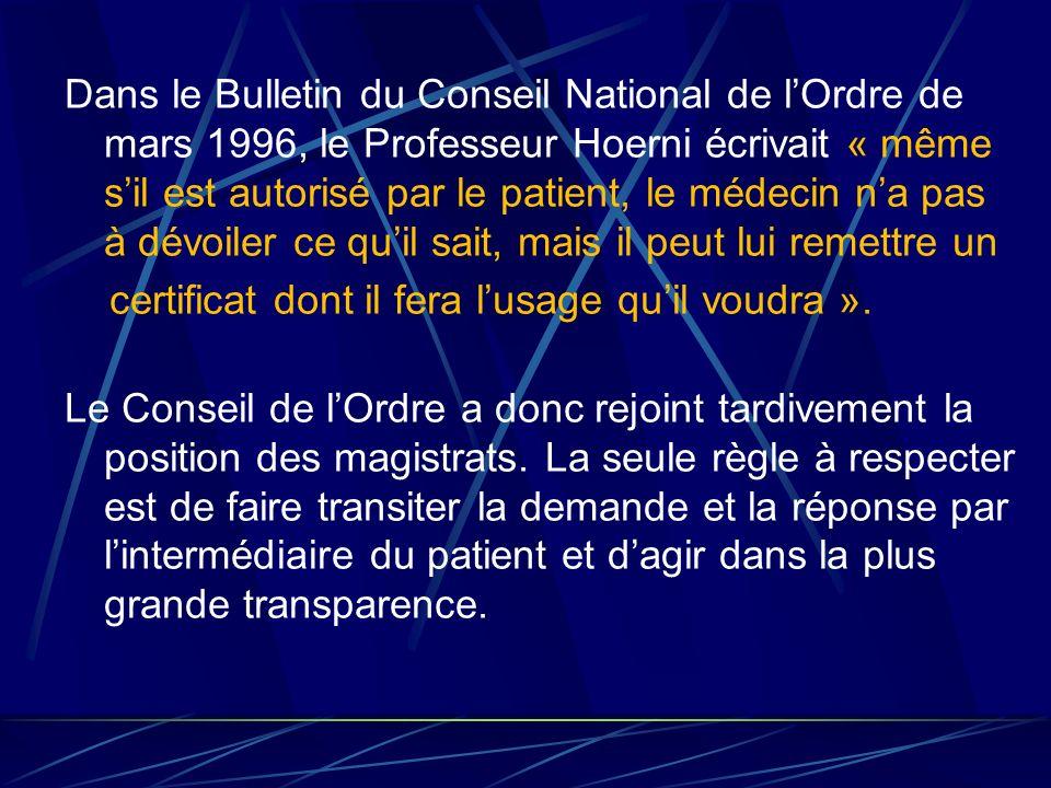 Dans le Bulletin du Conseil National de l'Ordre de mars 1996, le Professeur Hoerni écrivait « même s'il est autorisé par le patient, le médecin n'a pas à dévoiler ce qu'il sait, mais il peut lui remettre un