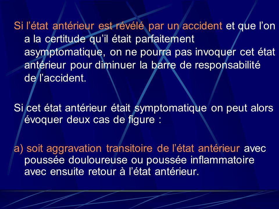 Si l'état antérieur est révélé par un accident et que l'on a la certitude qu'il était parfaitement asymptomatique, on ne pourra pas invoquer cet état antérieur pour diminuer la barre de responsabilité de l'accident.