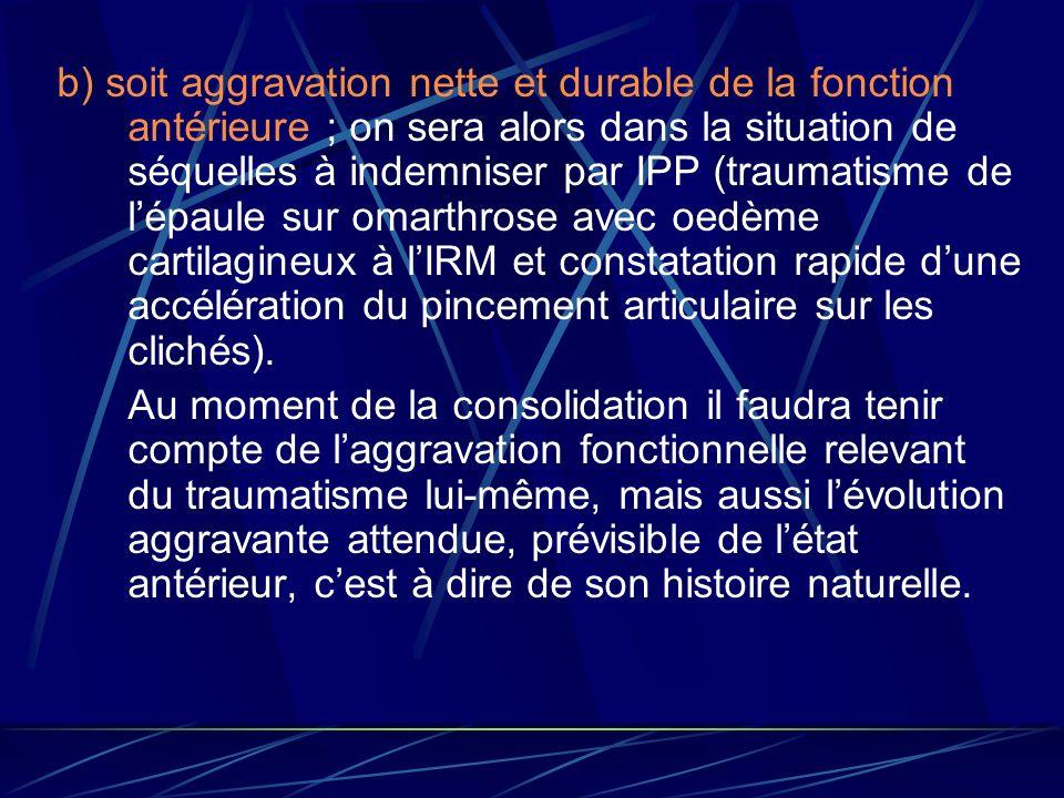 b) soit aggravation nette et durable de la fonction antérieure ; on sera alors dans la situation de séquelles à indemniser par IPP (traumatisme de l'épaule sur omarthrose avec oedème cartilagineux à l'IRM et constatation rapide d'une accélération du pincement articulaire sur les clichés).
