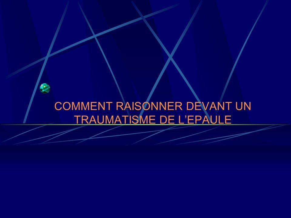 COMMENT RAISONNER DEVANT UN TRAUMATISME DE L'EPAULE