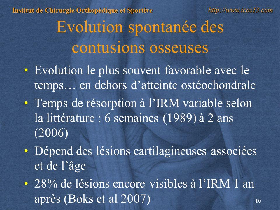 Evolution spontanée des contusions osseuses