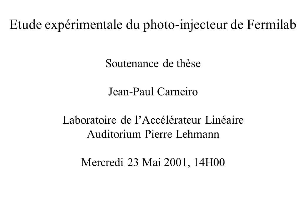 Etude expérimentale du photo-injecteur de Fermilab