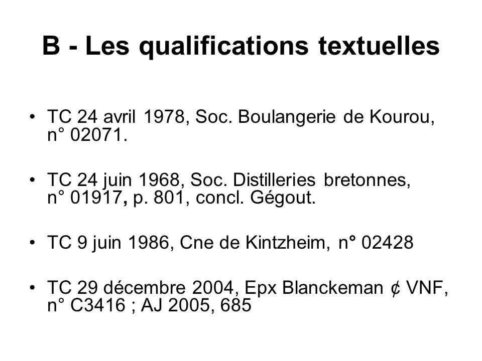 B - Les qualifications textuelles
