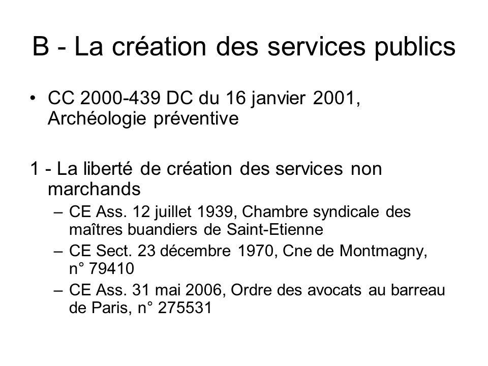 B - La création des services publics