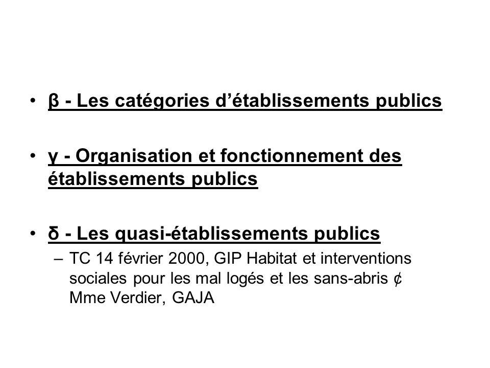 β - Les catégories d'établissements publics