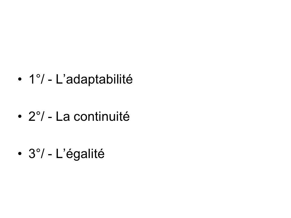 1°/ - L'adaptabilité 2°/ - La continuité 3°/ - L'égalité