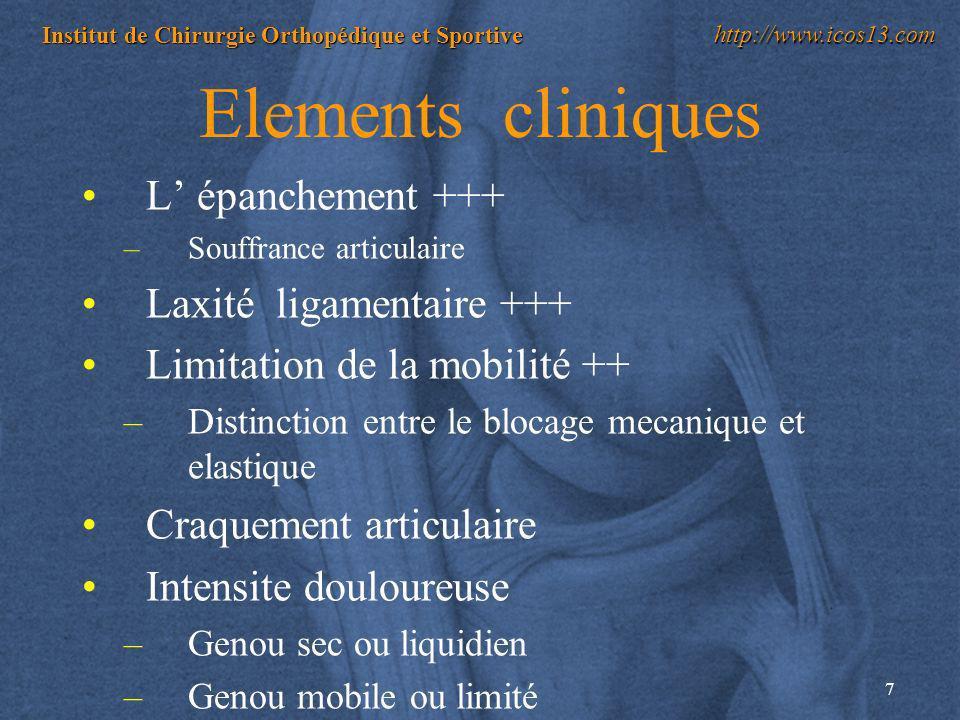 Elements cliniques L' épanchement +++ Laxité ligamentaire +++