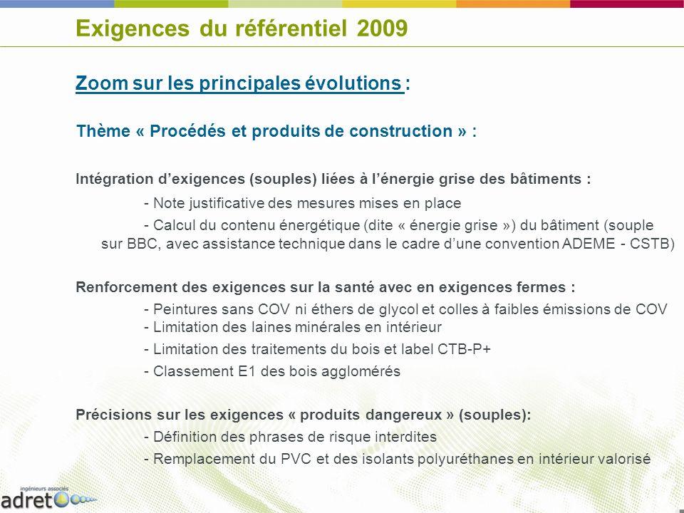Exigences du référentiel 2009