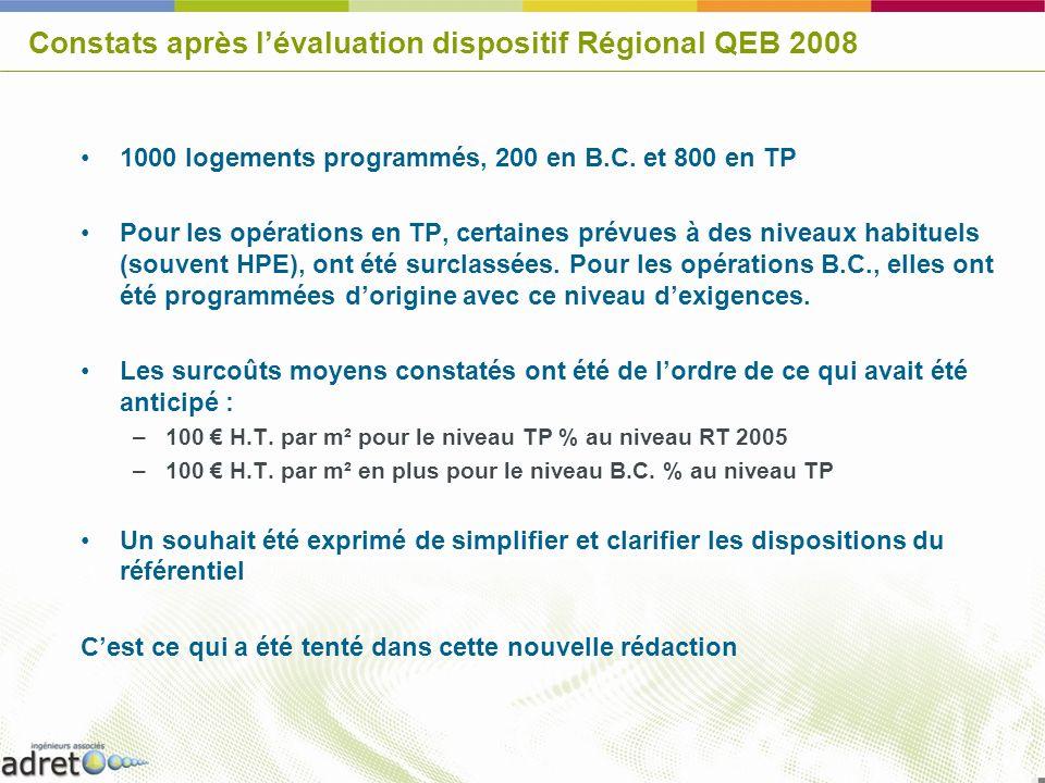 Constats après l'évaluation dispositif Régional QEB 2008