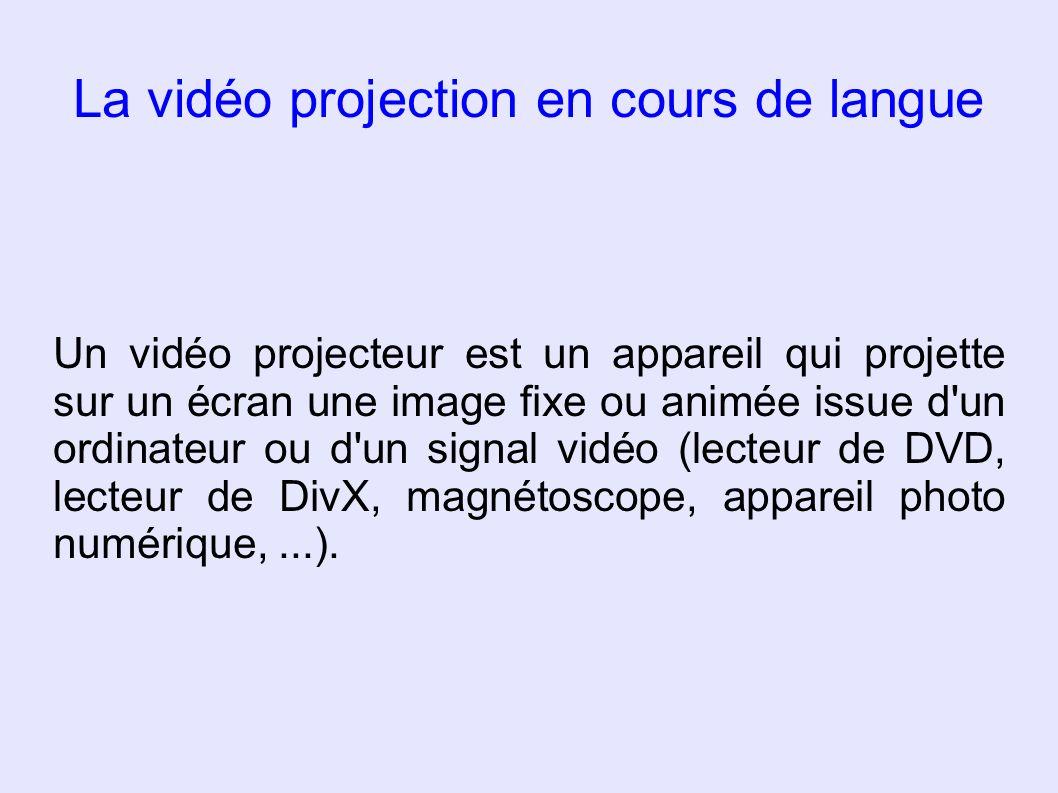 La vidéo projection en cours de langue